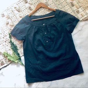 Theory Gray Linen Short Sleeve Blouse (S)